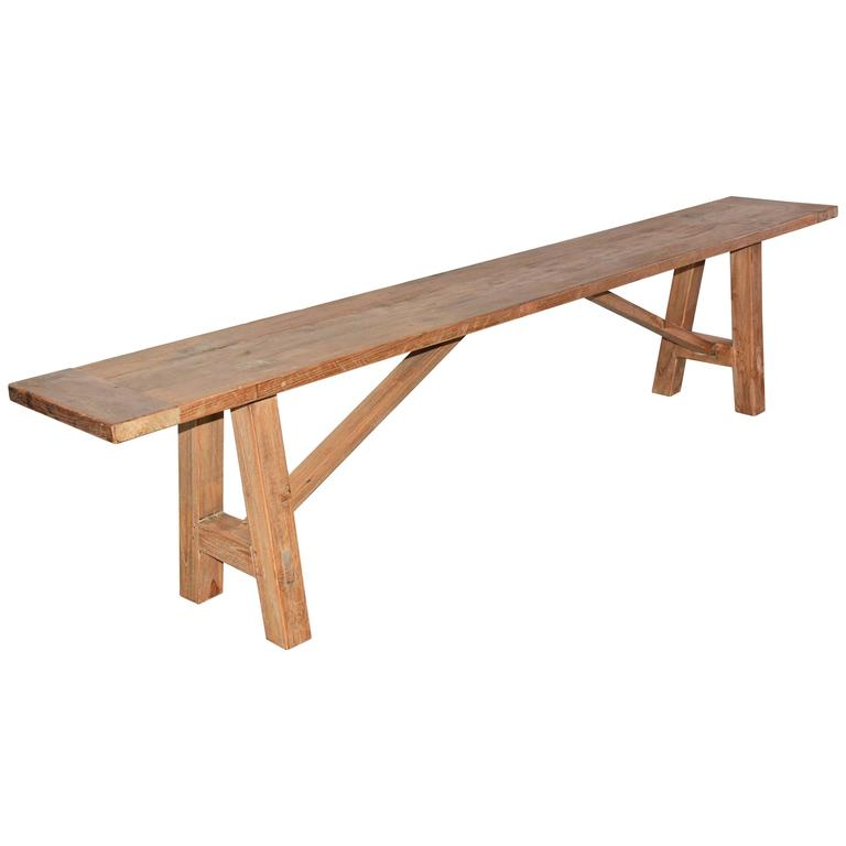 Rustic Indoor Outdoor Teak Bench At 1stdibs