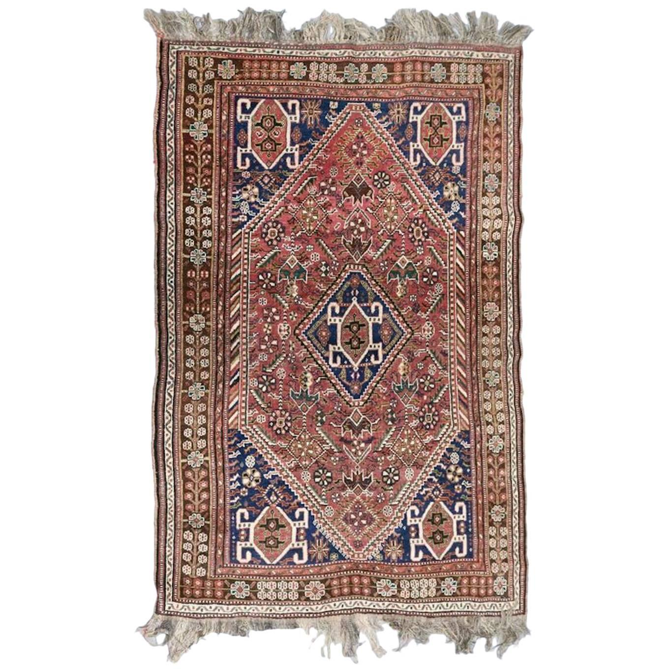 "Chinese Rug Dealers: Semi-Antique Shiraz Oriental Rug, 8'x5'3"", Circa 1960 For"