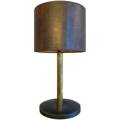 French Stitched Leather and Brass Lamp