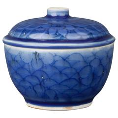 Chinese Porcelain Blue Glaze Bowl and Cover, 17th Century