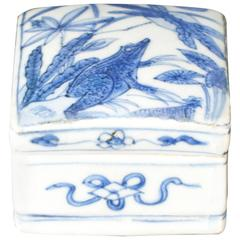 Rare Chinese Porcelain Ming Blue and White Square Box and Cover, 17th Century