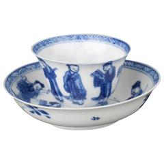 Chinese Porcelain Blue and White Miniature Tea Bowl and Saucer, 17th Century