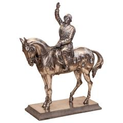 Italian Silver Equestrian Statuette of Benito Mussolini