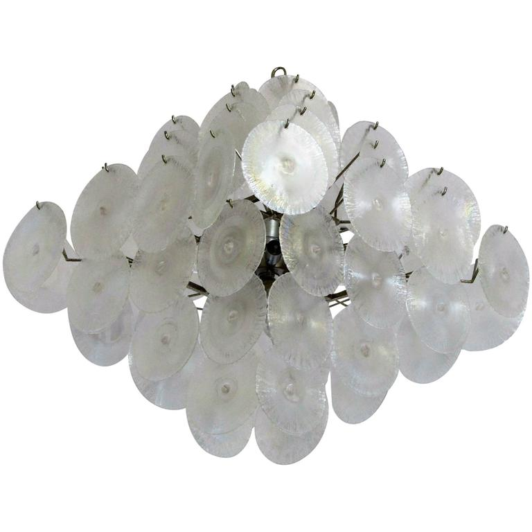 Lampadario Mazzega dischi di Murano For Sale at 1stdibs