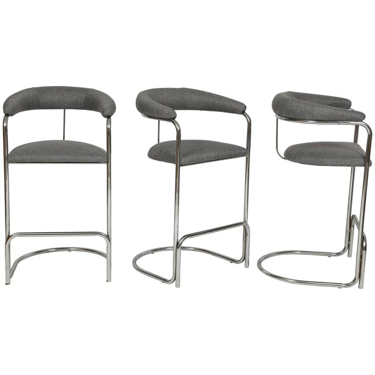 Vintage Grey Wool And Chrome Thonet Bar Stools 1960s Mid