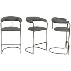 Vintage Grey Wool and Chrome Thonet Bar Stools, 1960s, Mid-Century