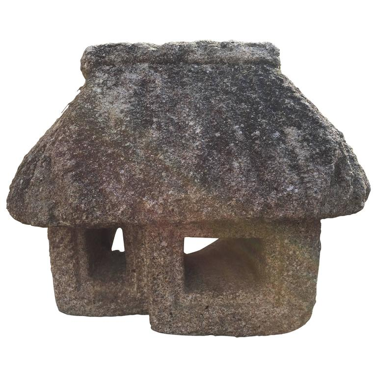 Japan antique hand carved japanese stone farmhouse lantern