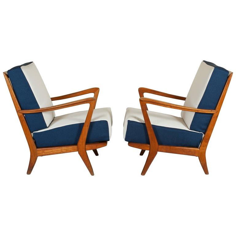 Rare Pair of Armchairs Attributed to Gio Ponti, circa 1950 1