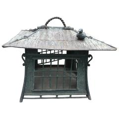 "Japanese Bronze ""Bird on the Roof"" Lantern Fine Green Patina"