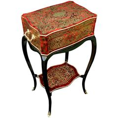 Small Table in Boulle Marquetry All Sides, 19th Century, Napoleon III Period