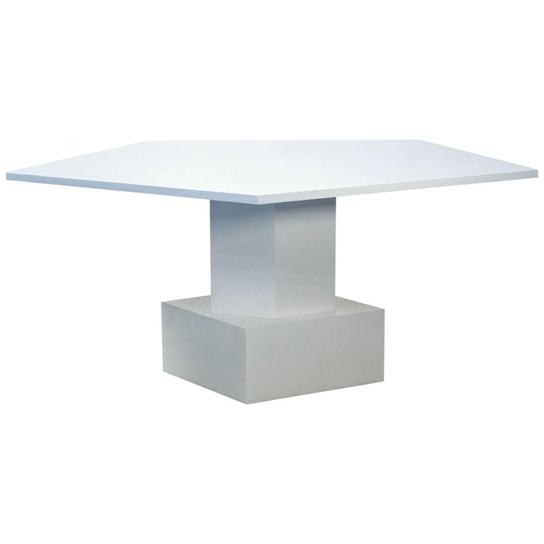 Dining table in white lacquer by tinatin kilaberidze for for White lacquer dining table