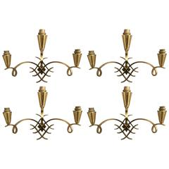 Rare Set of four Bronze Wall Sconces Attributed to Jules Leleu