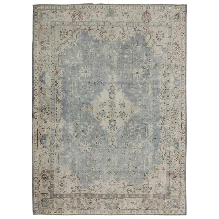 Antique Turkish Oushak Rug With Gray And Brown For Sale At