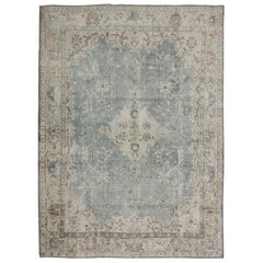 Antique Turkish Oushak Rug with Gray and Brown