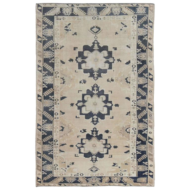 Vintage Turkish Oushak with Dark Blue