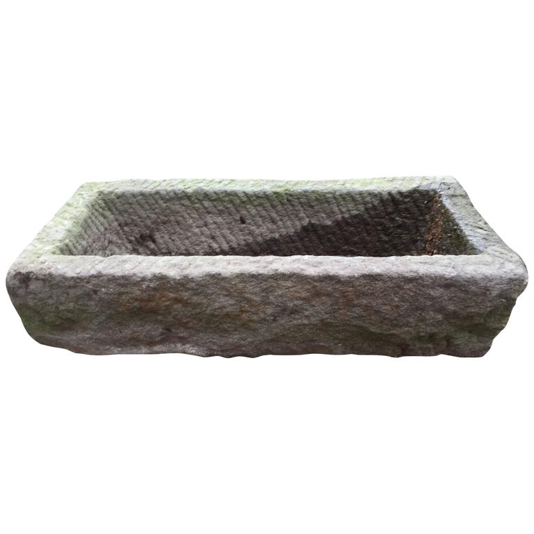 Japanese Antique 19th Century Hand carved Stone Planter