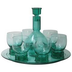 A.D. Copier, Sea-Green Whisky Carafe Set, Glasfabriek Leerdam, 1927