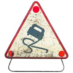 Vintage French Road Safety Sign with Stand