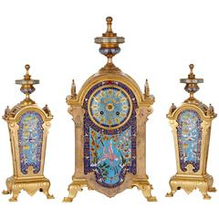 Ormolu and Cloisonné́ Enamel Orientalist Clock Set