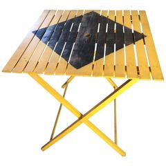 Yellow and Black Caution Sign Folding Table