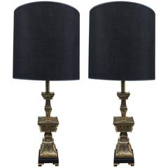 Pair Frederick Cooper Asian Inspired Brass Lamps