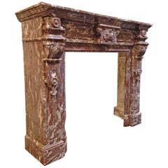Antique Red Marble Mantel