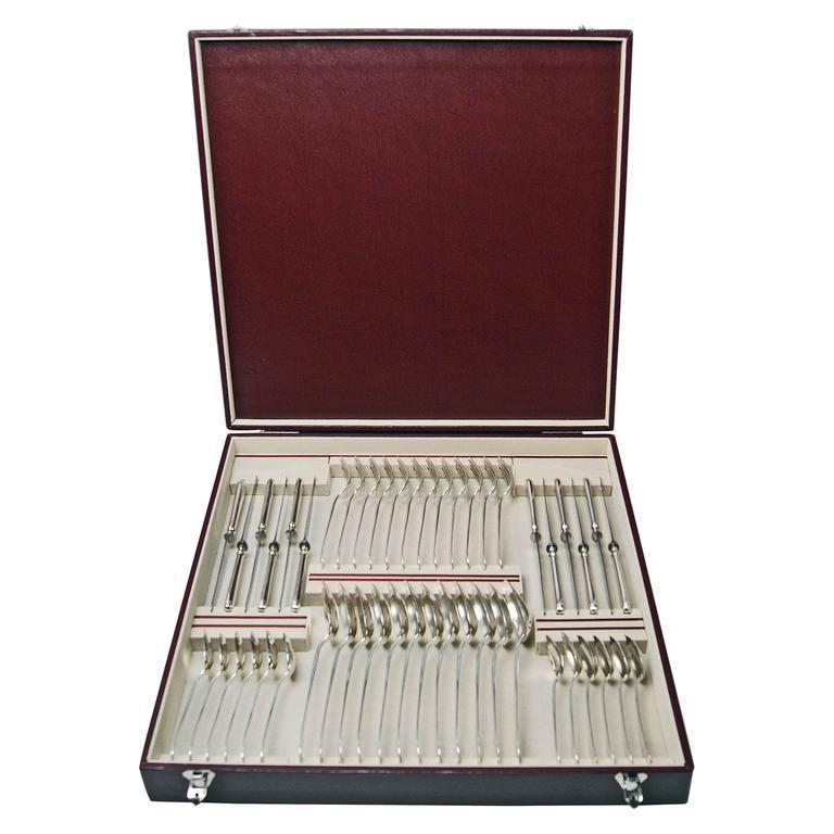 Silver 800 48-Piece Flatware Cutlery Set 12 Persons V.C.Dub Austria Vienna, 1900 1