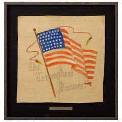 44-Star Hand-Painted American Flag, Antique Textile Banner, circa 1891-1896