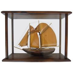 Chinese Ship in a Glass Showcase