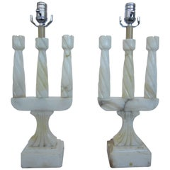 Pair of Three-Arm Marble Lamps by Varis