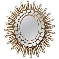 Sunburst Giltwood Spanish Colonial Wall Mirror
