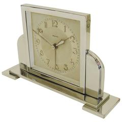 French Art Deco Chrome Mechanical Architectural Alarm Clock by Bayard