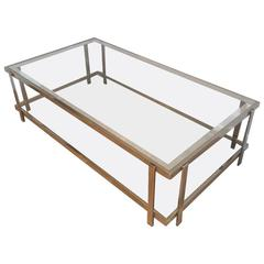 Large Double Tiered Coffee Table with Nickel-Plated Frame