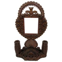 Sculptural Tramp Art Double Sided Frame and Candleholder
