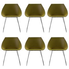 Set of Six Italian Modern Dining Chair Made in Italy, New, Leather and Chrome