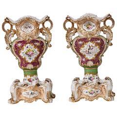 Pair of Jacob Petit Rococo Paris Porcelain Vases on Stands