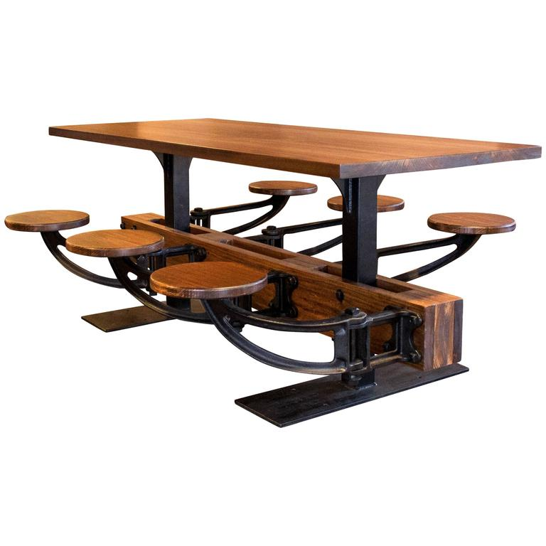 Dining Table Set: Vintage Industrial Iron Cafeteria Swing Out Seat Kitchen  For Sale