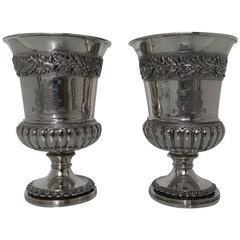 Pair of George III Sterling Silver Wine Goblets William Eaton/Emes & Barnard