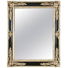 19th Century French Black and Giltwood Mirror with Original Mercury Glass