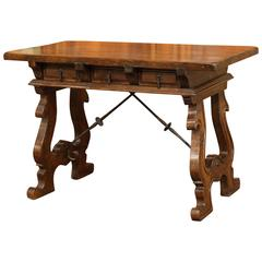 Early 20th Century Spanish Walnut Desk with Iron Stretcher and Two Drawers
