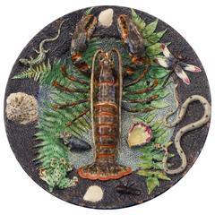 Majolica Palissy Lobster Platter Victor Barbizet, circa 1870