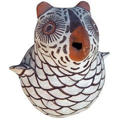 Classic Zuni Owl Figure by Nellie Bica, Native American Pottery