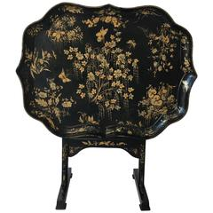 19th Century Japanned Black and Gold Lacquered Tilt-Top Table