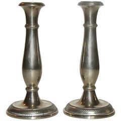 Pair of Berndorf Austrian Empire Candlestick Holders