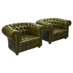 Vintage Pair of Green Leather Chesterfield Club Chairs
