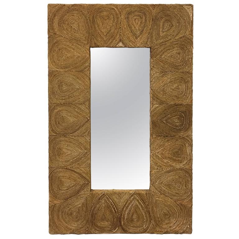 1980's Palm Beach Style Large Raffia Mirror