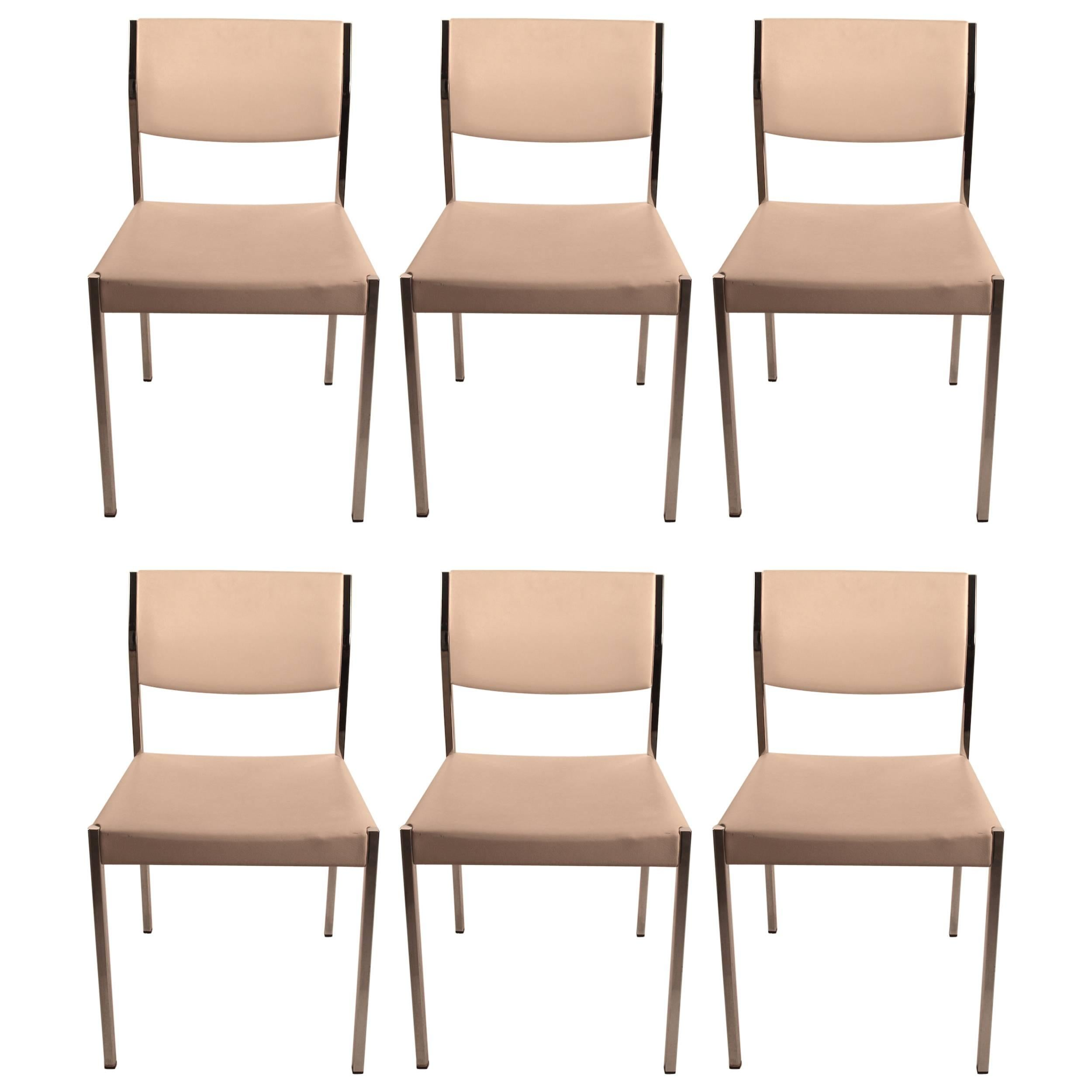 Set of Six John Stuart Chrome and White Dining Chairs