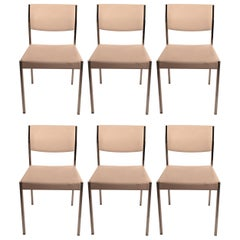 Set of Six John Stuart Chrome and White Dining Chairs
