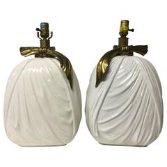 Pair of Vintage 1982 Chapman Ceramic and Brass Drape Style Table Lamps