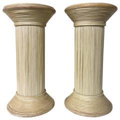 Pair of Vintage Whitewashed Split Reed Bamboo Rattan Columnar Pedestals